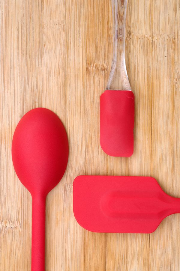 Rubber spatulas, of all shapes and sizes. These are so, so, so great in the kitchen. They don't last forever, so having a ref