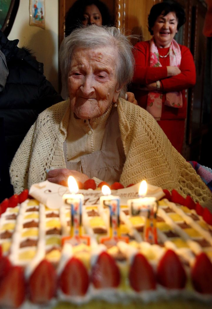 Emma Morano, thought to be the last living person born in the 1800s, admires her 117th birthday cake in Verbania, Italy, on N