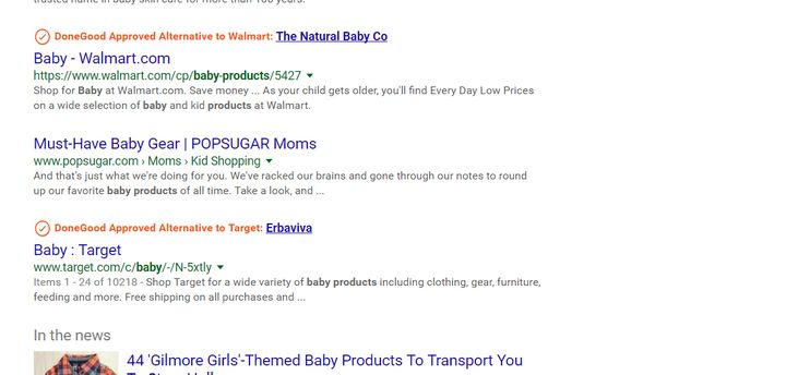 What a Google search result will look like after you install DoneGood.