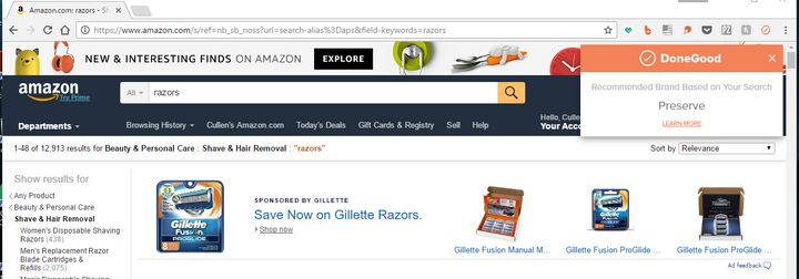 DoneGood search on Amazon.