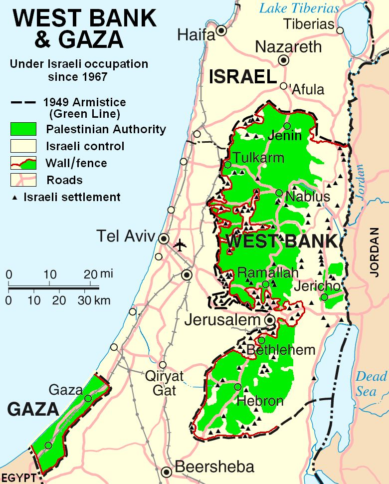 Map from 2007 illustrating the limited autonomy of Palestinian areas in the West Bank and Gaza Strip.