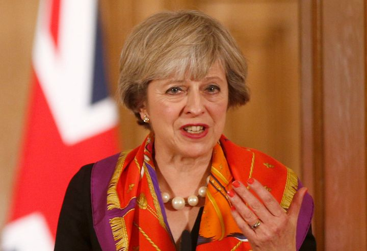 Britain's Prime Minister Theresa May holds a news conference in 10 Downing Street in central London, Britain November 28, 201
