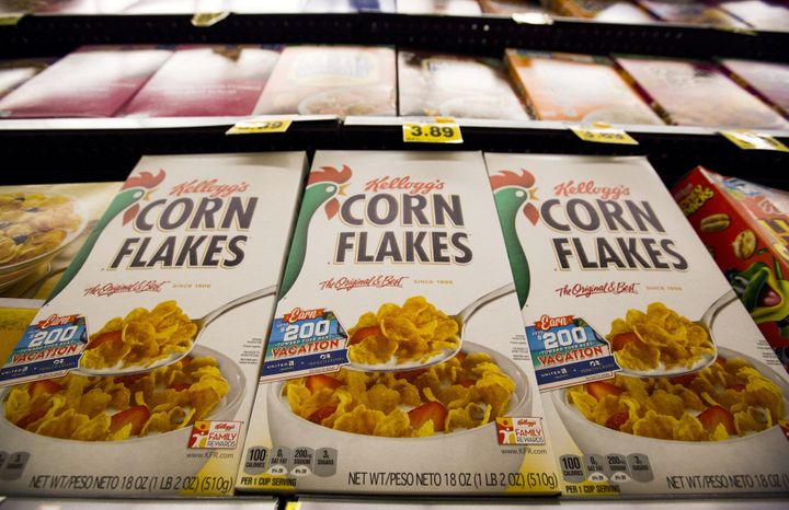 Kellogg's Corn Flakes cereal is pictured at a Ralphs grocery store in Pasadena, California.