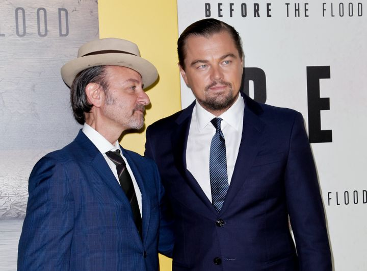 "Fisher Stevens and Leonardo DiCaprio at the National Geographic screening of ""Before The Flood"""