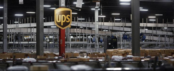Packages move along conveyor belts at a UPS facility in Hodgkins, Illinois, on Cyber Monday.