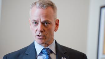 UNITED STATES - MARCH 24: Rep. Steve Russell, R-Okla., speaks during an off the record meeting with reporters and GOP freshmen members in Cannon Building, March 24, 2015. (Photo By Tom Williams/CQ Roll Call)