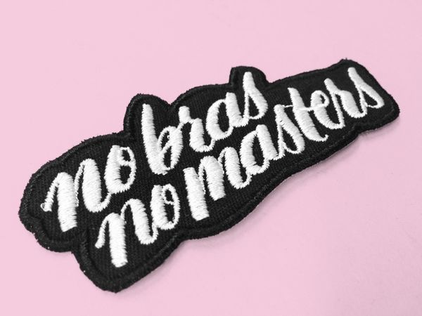 """$11, Eythink. <a href=""""http://www.eythink.com/listing/259677520/no-bras-no-masters-embroidered-patch"""" target=""""_blank"""">Buy her"""