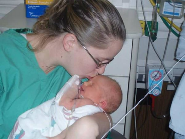 """""""My Kira at 36 weeks five pounds,two ounces. She was born with a blood infection, respiratory issues, and couldn't keep"""