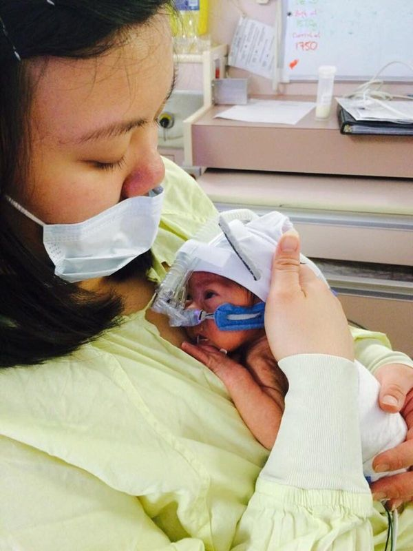 """""""My 30-weeker weighing three poundsand six ounces. We spent over 100 days in the NICU. You just have to take it day by"""