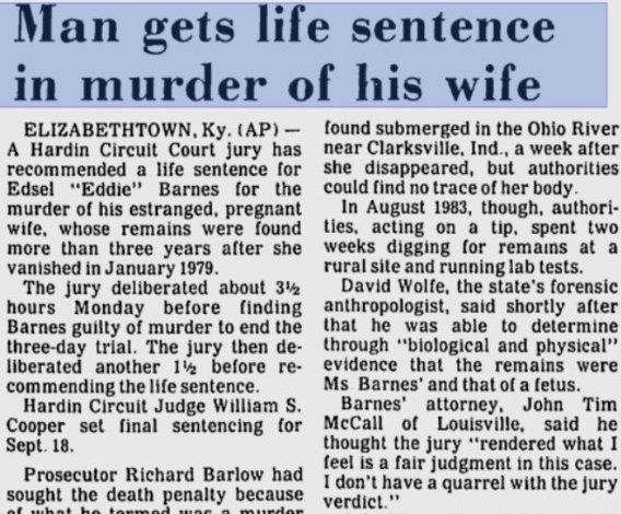 A 1984 news article about Sherry Ballard Barnes.