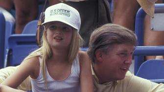 NEW YORK CITY - AUGUST 30:  Donald Trump and Ivanka Trump attend U.S. Open Tennis Tournament on August 30, 1991 at Flushing Meadows Park in New York City. (Photo by Ron Galella/WireImage)