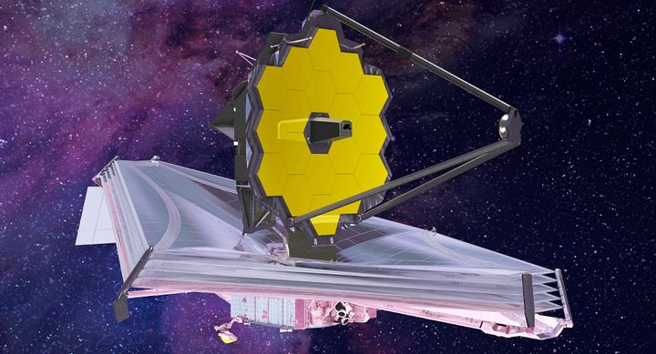 An artist conception of the fully deployed James Webb Space Telescope after it begins a decade-long mission in 2018 as Earth&