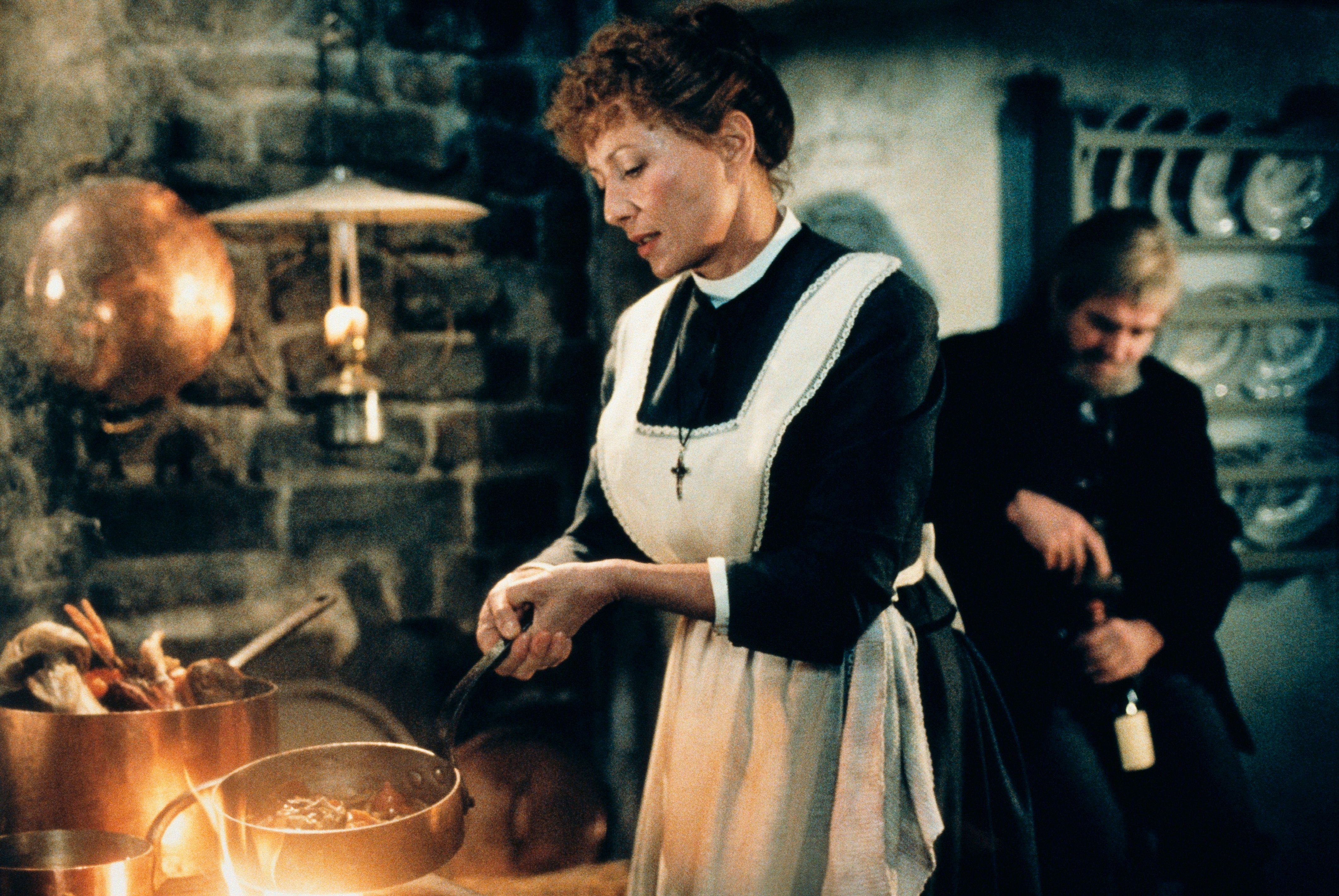 "Stephane Audran as Babette in the 1987 film ""Babettes Gaestebud"", released in the USA as ""Babette's Feast."""