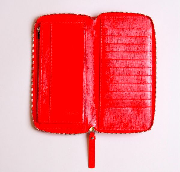 """<a href=""""http://www.arlingtonmilne.com/large-wallet-tangerine-gloss"""" target=""""_blank"""">Large Wallet Clutch</a>, $159.95 at <a h"""