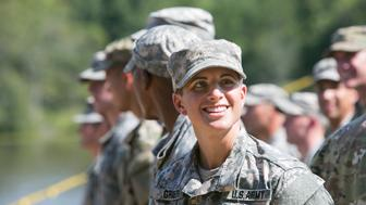 FORT BENNING, GA - AUGUST 21:  Capt. Kristen Griest smiles at the audience gathered during the graduation ceremony of the United States Army's Ranger School on August 21, 2015 at Fort Benning, Georgia . Griest and Haver are the first women ever to successfully complete the U.S. Army's Ranger School.  (Photo by Jessica McGowan/Getty Images)