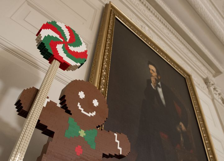 A Lego gingerbread man in the State Dining Room