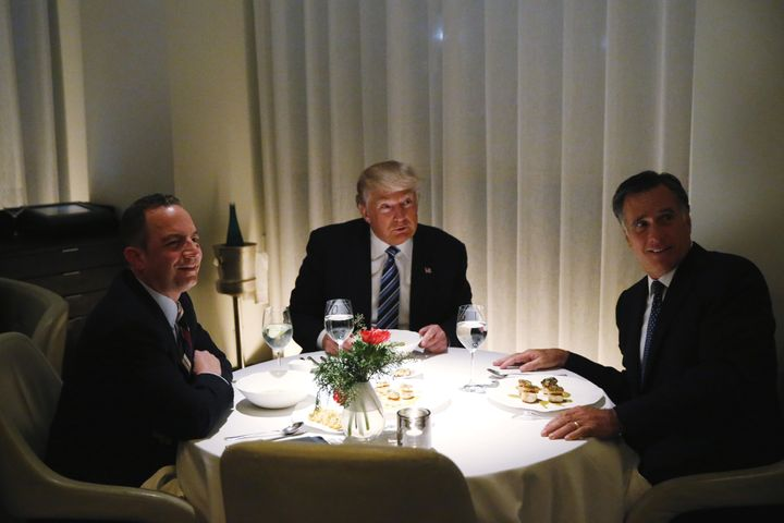 Romney, Trump and Reince Priebus dined on frog legs, scallops, steak and lamb chop at a French restaurant at one of Trump's h
