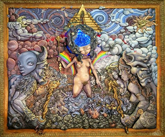 """<em>Gaia and the Birth of a New King </em>mixed media, relief sculpture, 35 ¼"""" x 29 ¼"""" 2016"""