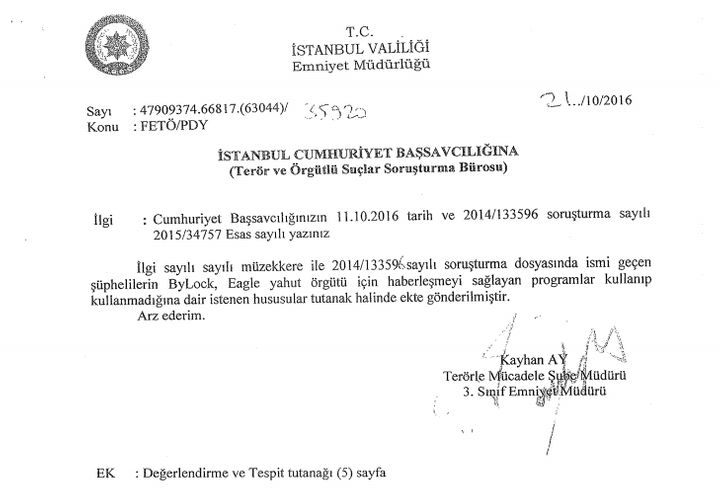 A letter by police chief Kayhan Ay to Istanbul Prosecutor's Office about ByLock and suspects who downloaded ByLock on their p