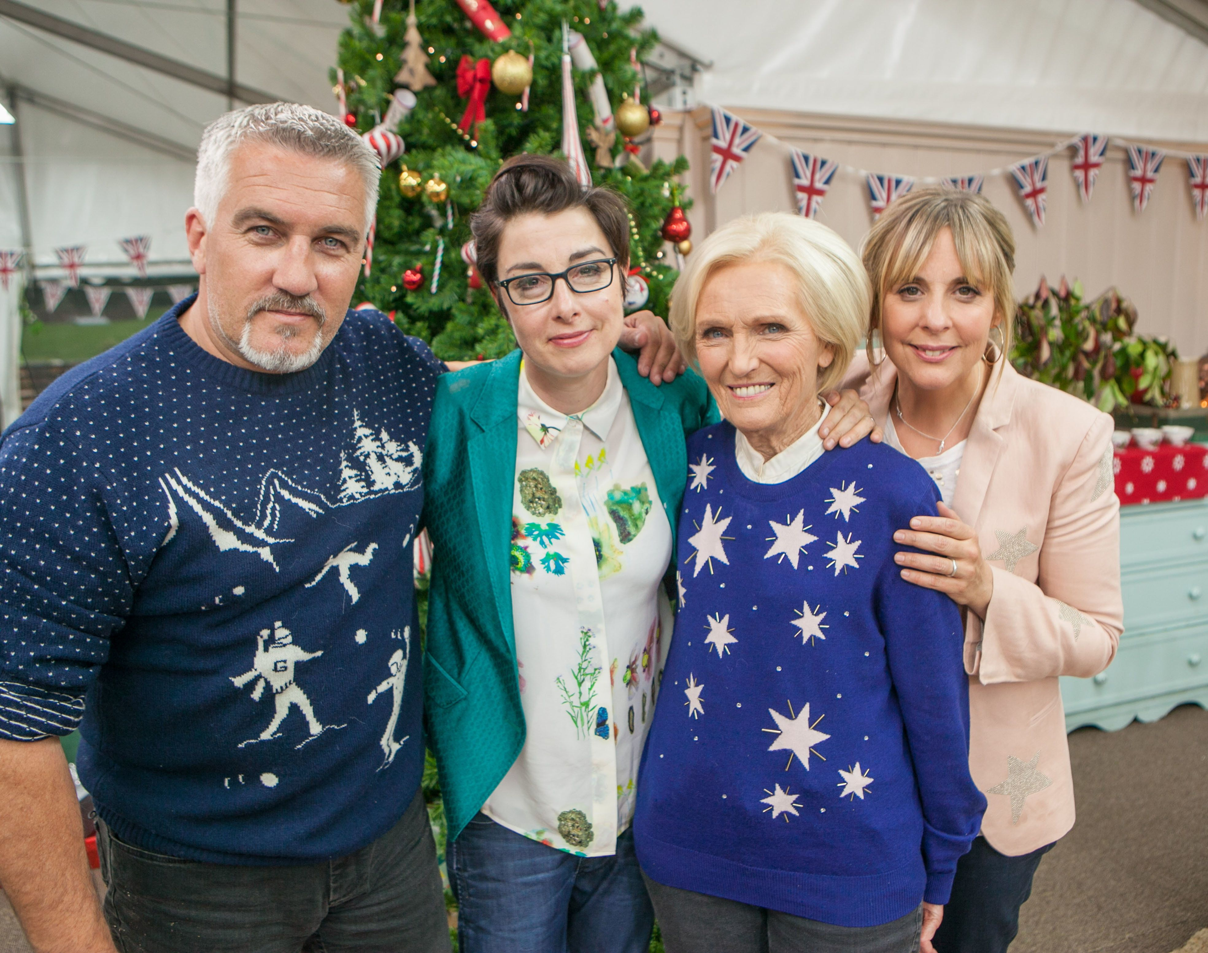 <strong>The trio with their former 'Bake Off' co-star Paul Hollywood</strong>