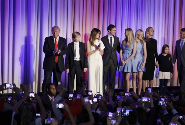 Donald Trump alongside his family on election night earlier this