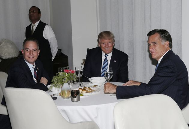 Mitt Romney gets cozy with Reince Priebus and President-elect Donald Trump at dinner Tuesday