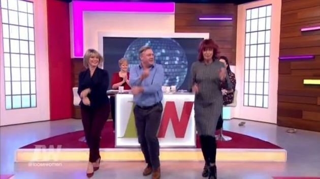 Ruth Langsford, Ed Balls and Janet Street Porter going 'Gangnam Style'.