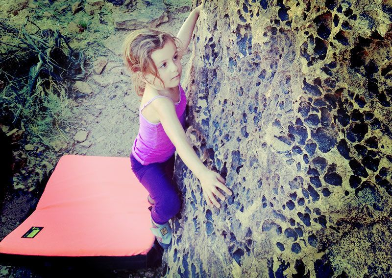 Our daughter bouldering at 5 years old.