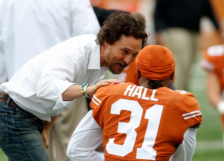 Matthew McConaughey encourages the Texas Longhorns before the game on Nov. 25 in Austin.