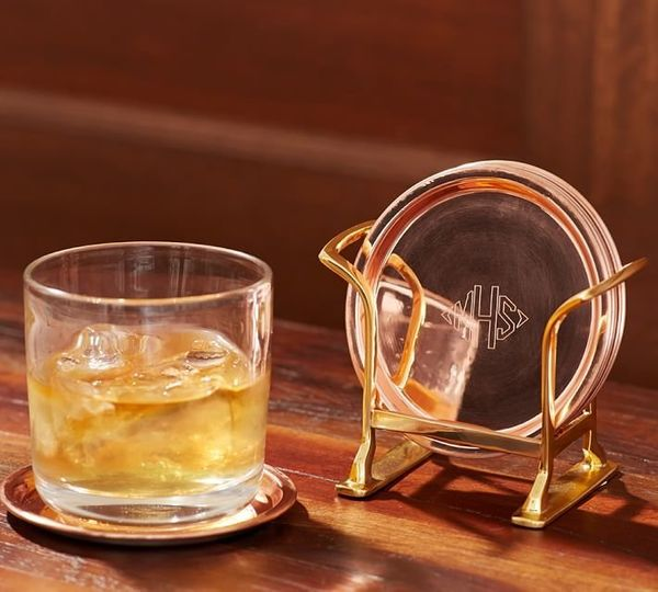 "Monogrammed Copper Coaster Set, $27.50, <a href=""http://www.potterybarn.com/products/copper-coasters/?pkey=call-glasswar"