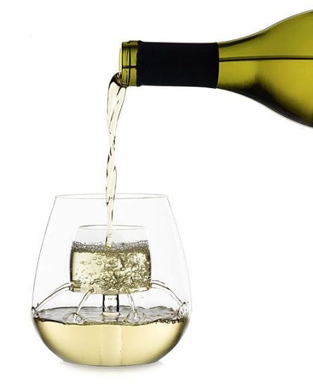 "Stemless Fountain Aerating Wine Glass Set, $56, <a href=""http://www.uncommongoods.com/product/stemless-fountain-aerating-wine"