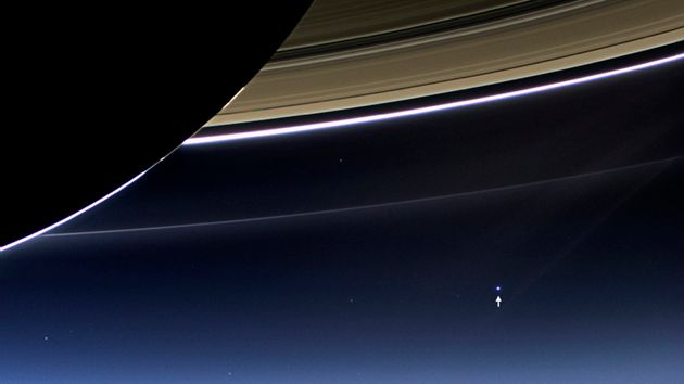 The wide-angle camera on NASA's Cassini spacecraft has captured Saturn's rings and planet Earth and its...