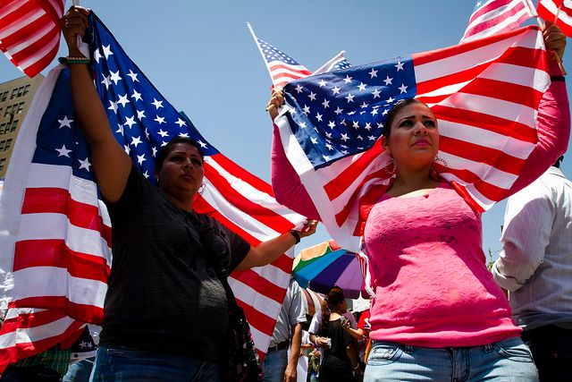 Immigrants at Los Angeles rally.