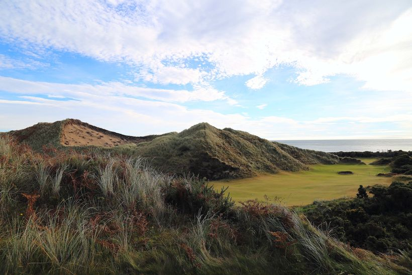 The huge bunker behind the third green that forms the Northeastern boundary of Royal County Down