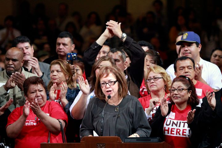 Maria Elena Durazo led a rally at Los Angeles city hall in 2010.