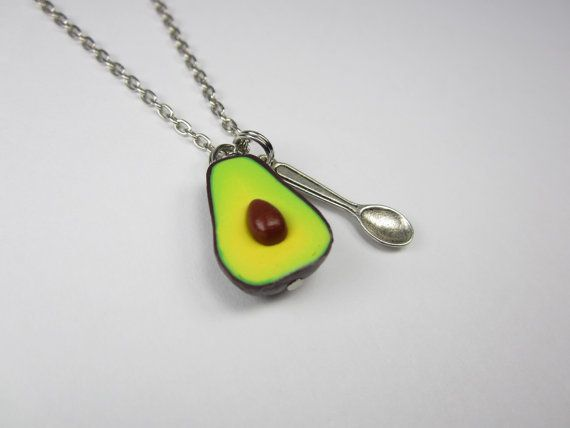 """$10.00, Etsy. Buy it <a href=""""https://www.etsy.com/listing/158385459/avocado-necklace-food-jewelry-food?ga_order=most_relevan"""