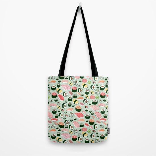 "$18.00, Society6. Buy it <a href=""https://society6.com/product/sushi-love-abk_bag?style=women#s6-2027608p29a26v196"" target=""_"