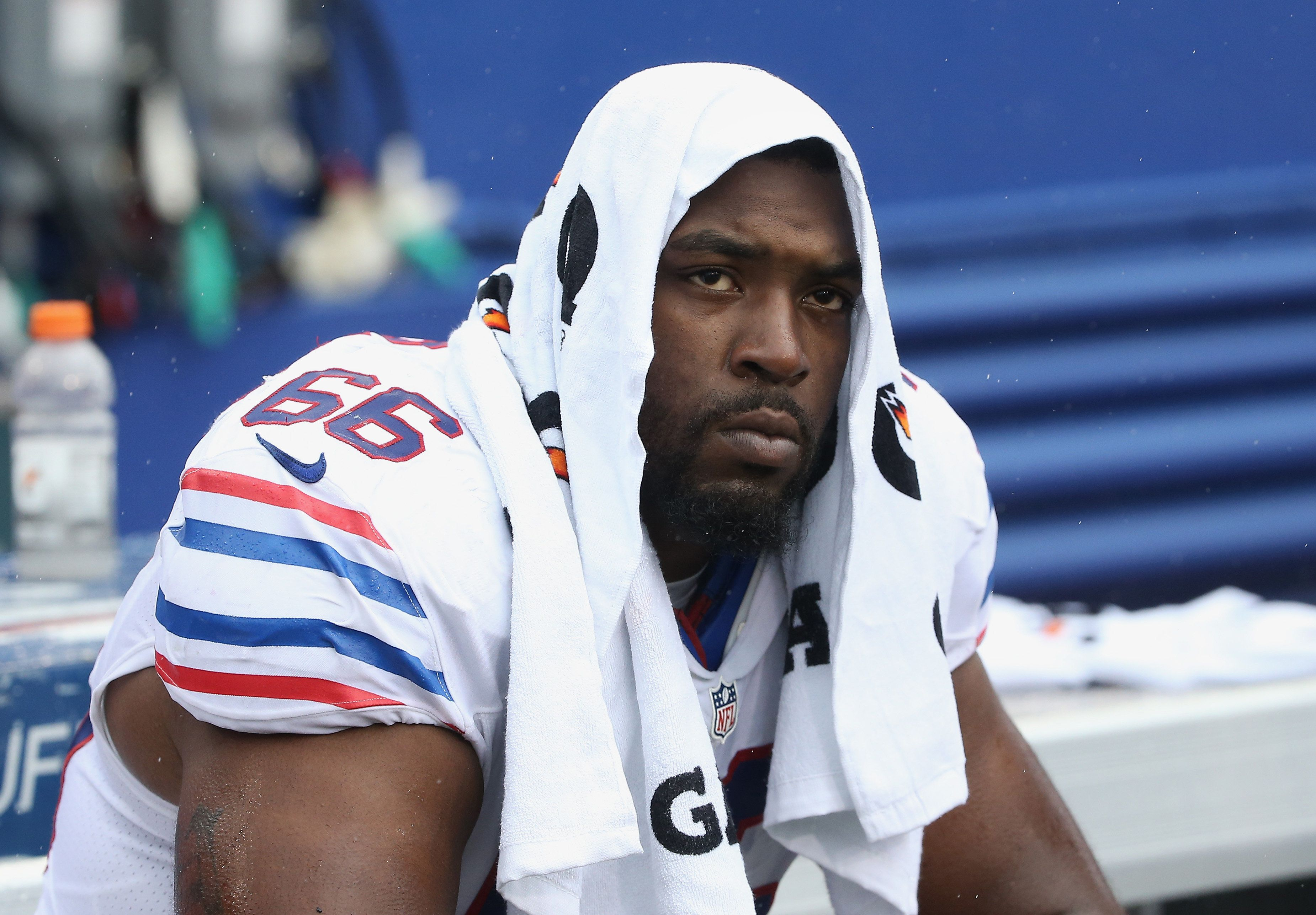 ORCHARD PARK, NY - SEPTEMBER 13: Seantrel Henderson #66 of the Buffalo Bills looks on from the bench during NFL game action against the Indianapolis Colts at Ralph Wilson Stadium on September 13, 2015 in Orchard Park, New York. (Photo by Tom Szczerbowski/Getty Images)