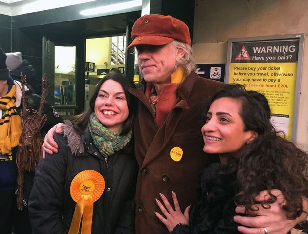 Geldof (centre) backed Lib Dem candidate Sarah Olney (left), leading a chant of 'Zac is