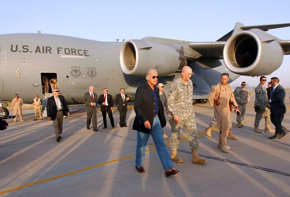 U.S. Vice President Joe Biden arrives in Baghdad, August 30, 2010. Biden arrived in Iraq on Monday as U.S. troops prepared to