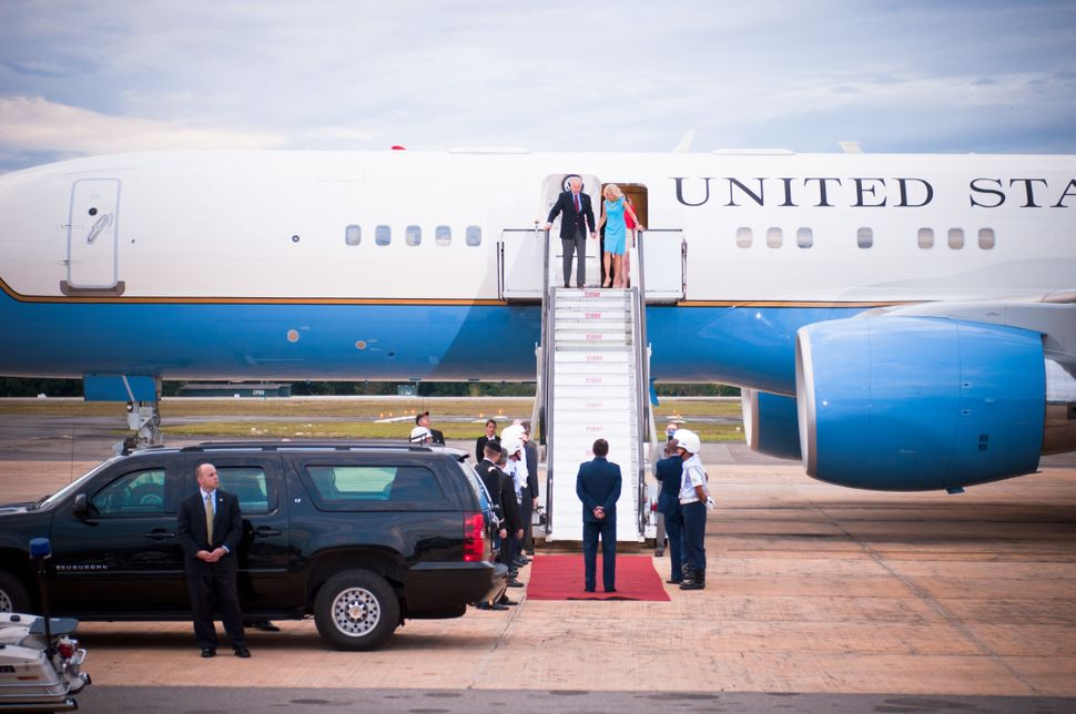 Vice President of the United States Joe Biden and his wife Dr. Jill Biden arrive at the Brasília Air Base on Air