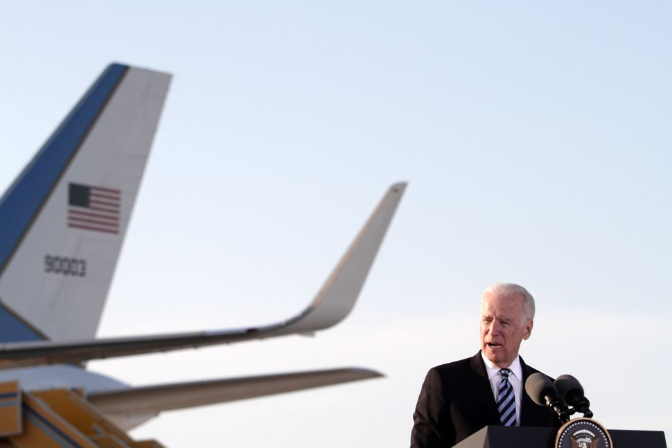 US Vice President Joe Biden delivers a speech after arriving on May 21,2014 at Larnaca airport in the Cypriot southern port c