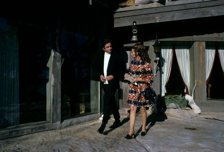 Johnny and June stroll on the patio, 1969.