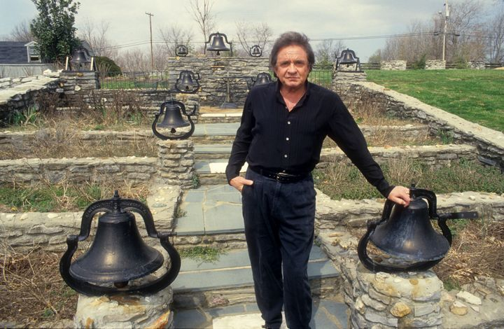 "Johnny in the home's iconic ""bell garden,"" 1988."
