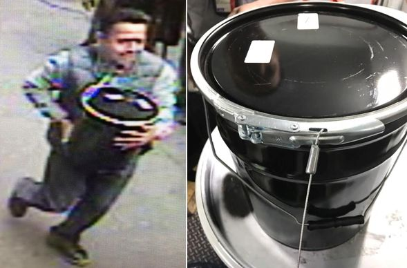 New York City police say this man (left) stole a bucket of gold (right) that's worth $1.6 million from the back of an armored