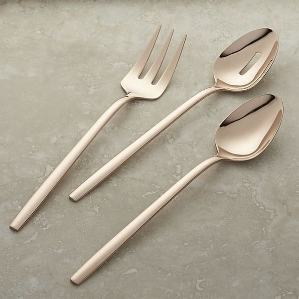 "Harper Rose Gold 3-Piece Serving Set, $69.95, <a href=""http://www.crateandbarrel.com/harper-rose-gold-3-piece-serving-set/s44"