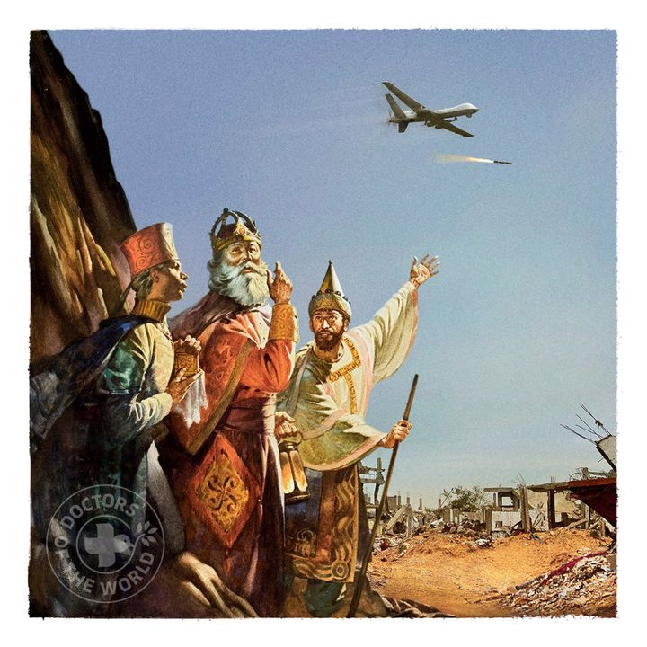 The Three Wise Men look up in the sky at a drone.