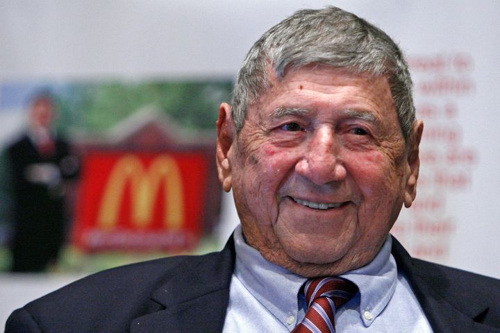 "In this Aug. 21, 2008, file photo, Big Mac creator Michael ""Jim"" Delligatti attends his 90th birthday party in Canonsburg, Pa."