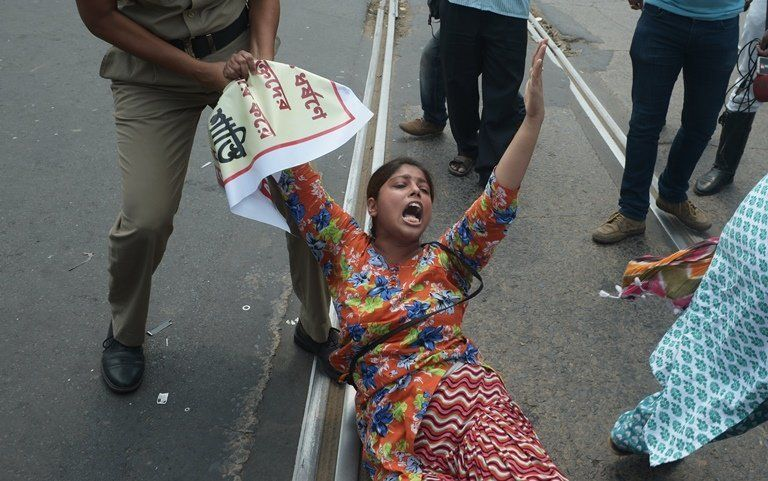 Indian police arrest protesters during a demonstration against a gang rape in Kolkata in May 2016 Womens rights activist Rishi Kant says more effort needs to be made to involve men in combating violence against women