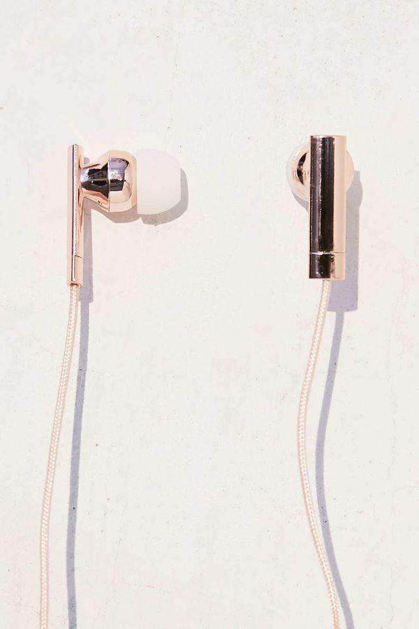 "Skinnydip Rose Gold EarbudHeadphones, $16, <a href=""http://www.urbanoutfitters.com/urban/catalog/productdetail.jsp?id=4"